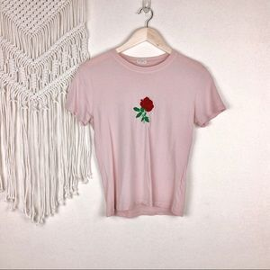Pacsun • Embroidered Rose Tee